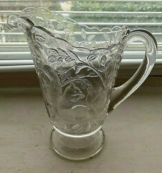 Rare Eapg Pedestal Water Pitcher Squirrel In Bower Indiana Glass
