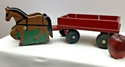 Hubley Vintage Horses Wagon Pull Wood Pull 19x6 Rare Collection X