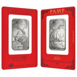 Lot Of 2 - 1 Oz Pamp Suisse Year Of The Ox Platinum Bar In Assay
