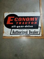 Vintage Economy Tractor All Gear Drive Authorized Dealer Metal Sign Double Sided