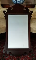 Virginia Metalcrafters Mahogany And Glass Large Chippendale Mirror 34 X 19