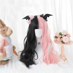 Lolita Long Wavy Black Mix Pink Hair Cosplay Wig With Bangs Party Synthetic Cute