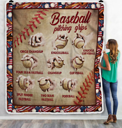 Baseball Blanket Pitching Grips Special Gift To Your Son Fleece Quilt Blanket
