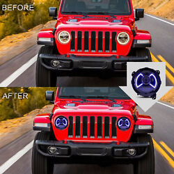 7 Round Led Sequential Front Headlight Pair Set For Jeep Wrangler 20182020