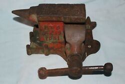 Vintage 1881 J. Allen Bench Mount Vise And Anvil Palmyra, Ny - 2 Jaws