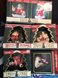 Lot 5 Coca Cola Christmas Ornaments Trim Tree And Bottling Works Collection W/box