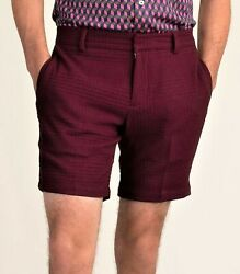 Mr. Turk 'marcus Coteaux Waffle Suiting' Designer Fitted Shorts Men's 31 Nwt