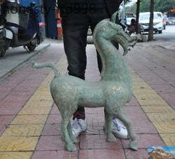 Huge Antique Old Chinese Bronze Ware Silver Zodiac Horse Auspicious Lucky Statue