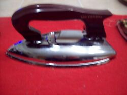 Vintage Hardly Used Chrome Universal Travel Clothes Iron W/ Cord - Works Great