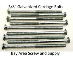 100 Galvanized Carriage Bolts 3/8 X 10 Wwo Hex Nuts Flat Washers 6 Thread
