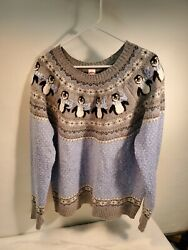 Rare Penguin Snowflake Shimmery Holiday Sweater Xl Blue Ugly Christmas Size16-18