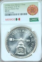 1979 Mexico Silver 1 Onza Dot Before Year Ngc Ms 65 Stunning Scarce Top Pop