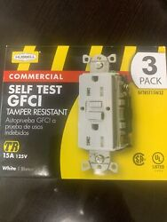 Hubbell Tamper Resistant 3 Pack 15a 125v White Indoor Gfci Decorator Wall Outlet