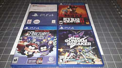 Ps4 4 Game Lot Red Dead Redemption 2, South Park Fractured, New Gundam, Skyrim