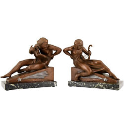 Art Deco Bookends Man With Music Book And Woman With Lyre Georges Van De Voorde