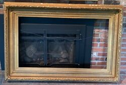 Gold Antique 19th-century Picture Frame Fits 24 X 42 Inch Painting Or Mirror