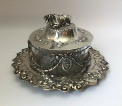 Antique English Butter Dish W/cow Finial Martin And Hall - Sterling And Glass 7