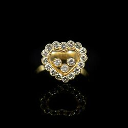 Chopard Happy Diamonds Collection Heart Ring 18k Yg Size 5 Signed