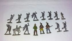 Lot Of 16 Vintage Britains/cast Metal Toy Indians/soldiers Guc