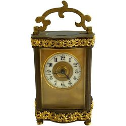 French Louis Xv Doucine Style Brass And Gilt Ormolu Carriage Clock With Key