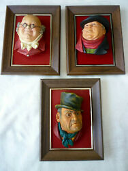 Vtg 1964 Lot Of 3 Bossons England Chalkware Charles Dickens Wall-hanging Heads