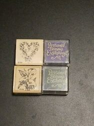 Lot Of 2 New Stamps And Ink Pads Flowers Green Heart Purple