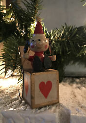 """Vintage Russ Wooden Jack In The Box Christmas Ornament Dog Puppy 3 1/2"""""""
