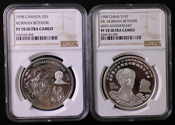 A Pair Of Ngc Pf70 1998 China And Canada 2x1oz Silver Coins - Dr. Norman Bethune