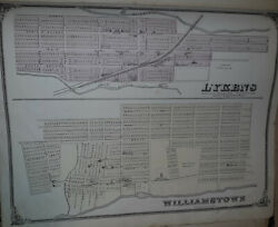 Pennsylvania , Original Hand Colored 1875 Map Of Lykins And Williamstown