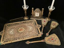 Rare Antique Silvercraft Incredibly Complete Jeweled Vanity Set