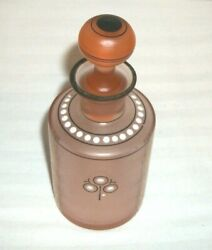 Art Deco Perfume Bottle Frosted Pink W Blk White Dot Gold Designs Czech Signed