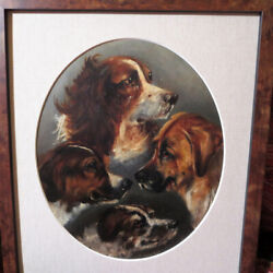 Antique English Oil Painting Of Four Breeds Of Dogs Signed