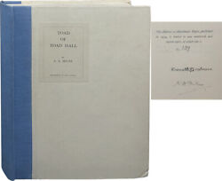 A A Milne / Toad Of Toad Hall Play From Kenneth Grahame's Book Signed 1st 1929