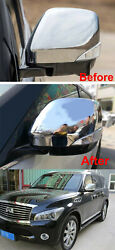 2pcs Rear View Mirror Cover Protector Cap Fits For Nissan Patrol Y62 2010-2021