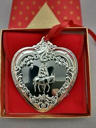 1999 Wallace Christmas Heart Sterling Silver Ornament, New, Mint W/box,bag