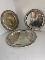 Vintage 3 Lot Of Towle Rogers 15andrdquo 13andrdquo 12andrdquo Silver Plated Tray Plates Vintage