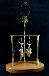 Vintage 1971 Artist Signed Donald Mcdonald Handcrafted Brass Sports Fishing Lamp