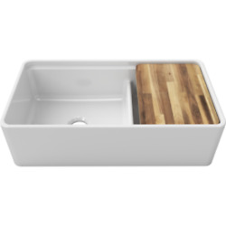 36 White Double Fireclay Farmhouse Workstation Farm Sink + Grids Cutting Board