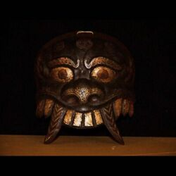 @rare 19th Old Antique Tibet Buddhism Ritual Iron Mask Inlaid Silver/red Copper@