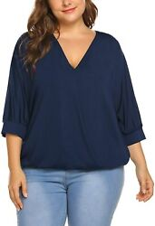 In'voland Women Plus Size Tops-wrap Blouse V Neck Front Drape Tops Casual Loose