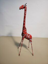 Vintage African Art Coke Can Giraffe Statue Wrapped Coca Cola Can Steel Wire