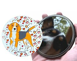 Beagle Dog and Hearts Pocket Mirror Purse Accessories and Collectible Art Gifts