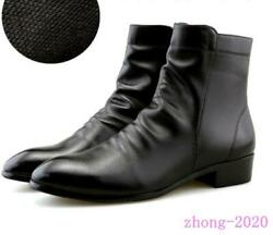 Mens Casual Zip Dress Formal Faux Leather Pointed Toe Ankle Boots England Shoes