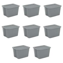 18 Gal Large Tote Box Durable Plastic Clothing Toys Storage Organizer Case Of 8