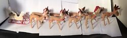 Annalee Reindeer 7 Tall- Set Of 9 With Sleigh Super Clean Condition