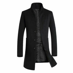 Menand039s Trench Coat Woolen Stand Up Single Breasted Slim Fit Overcoat Warm Outwear