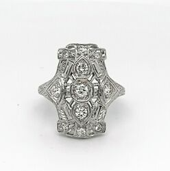 Art Deco 18k White Gold Filigree 1/2ct Genuine Natural Diamond Ring J4839