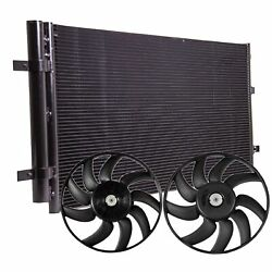 Valeo Left Right Engine Cooling Fans And A/c Condenser Kit For Audi A4 A5 Quattro