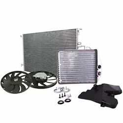 Valeo Left Right Engine Cooling Fan A/c Condenser And Hvac Heater Core Kit For 9-3