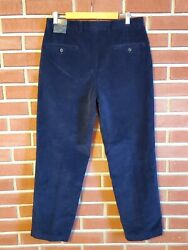 Brooks Brothers Hudson Flat Front Relaxed Navy Blue Corduroy Pants New Nwt 33 30